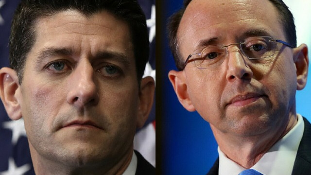 Paul Ryan says he does not support impeachment proceedings against Rod Rosenstein