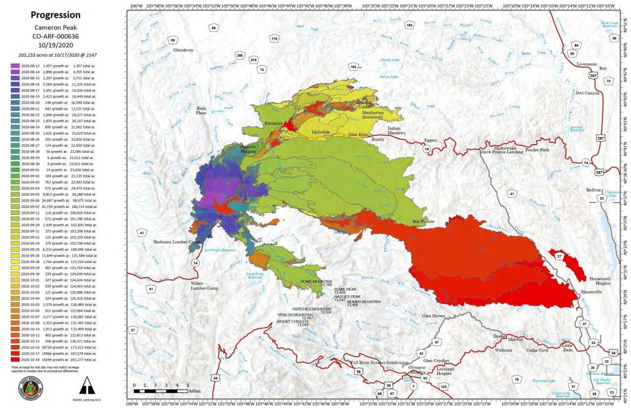 Cameron Peak Fire progression map_Oct 19 2020