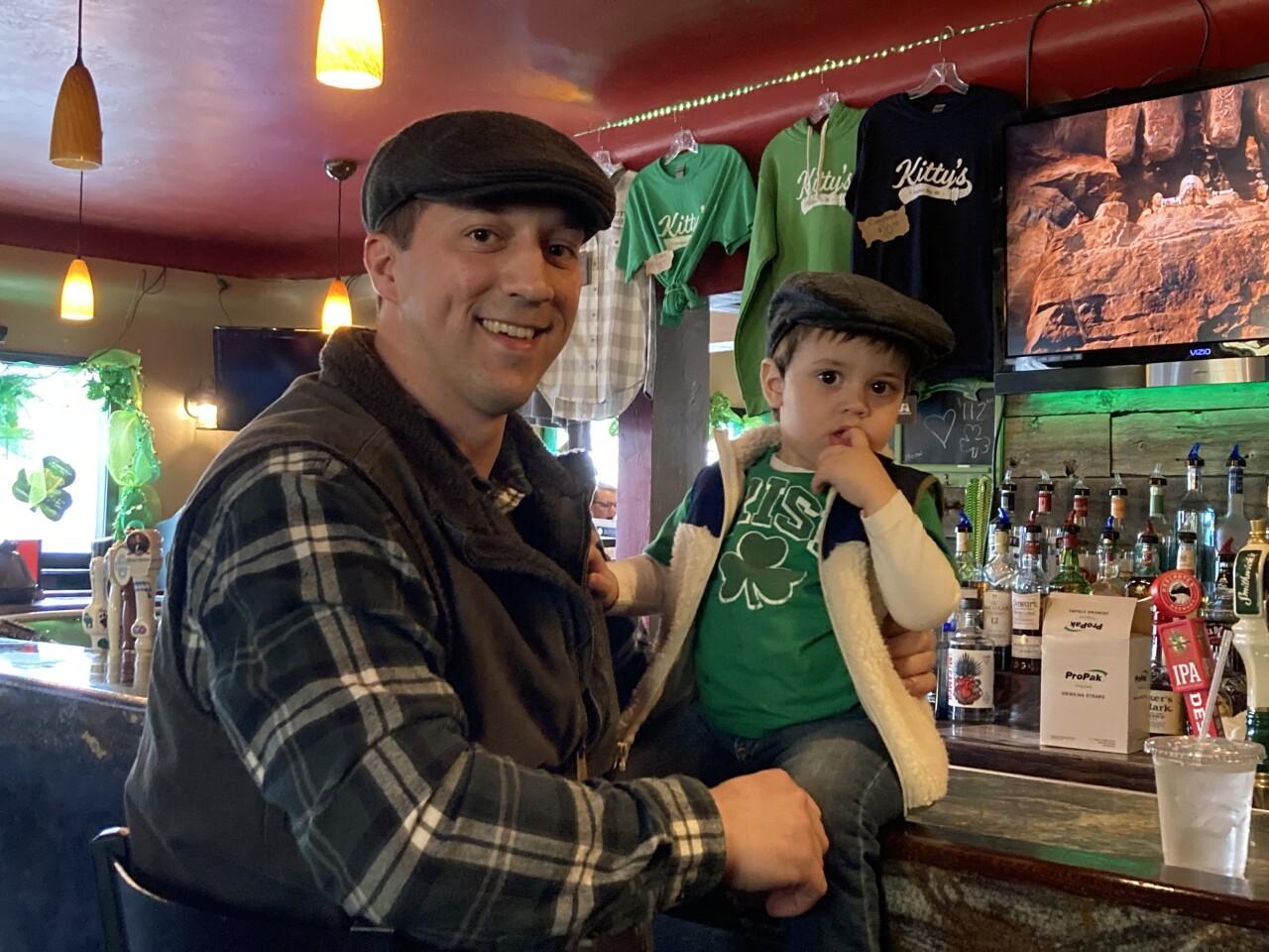Father son celebrate St. Patrick's Day