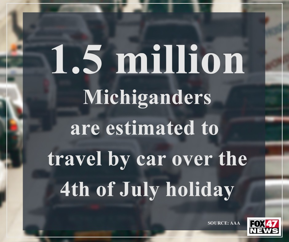 1.5 Million Michiganders are estimated to travel by car over the 4th of July holiday