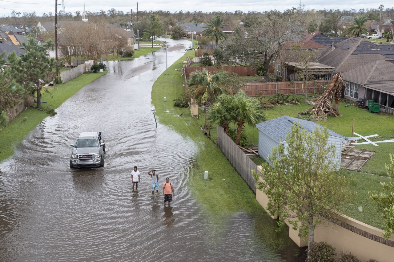 Flooded streets in Spring Meadow subdivision in LaPlace, La. after Hurricane Ida