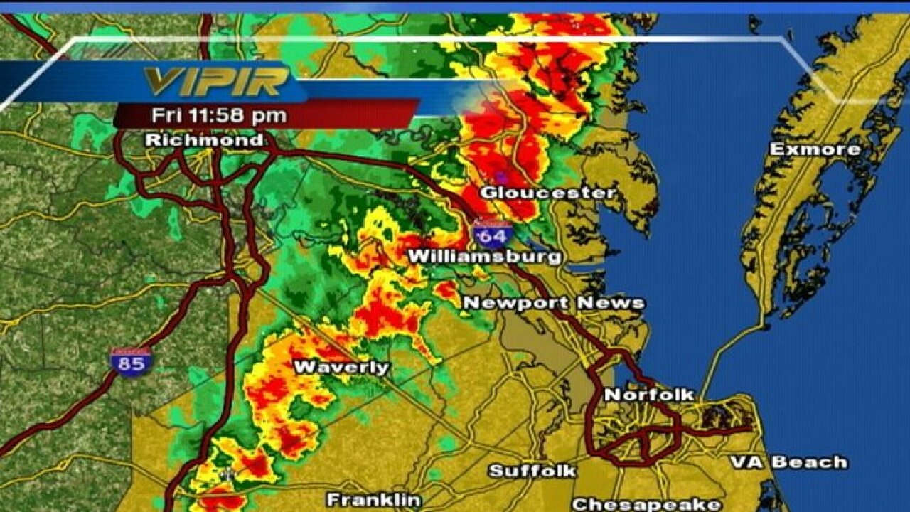 Severe thunderstorms move through Hampton Roads
