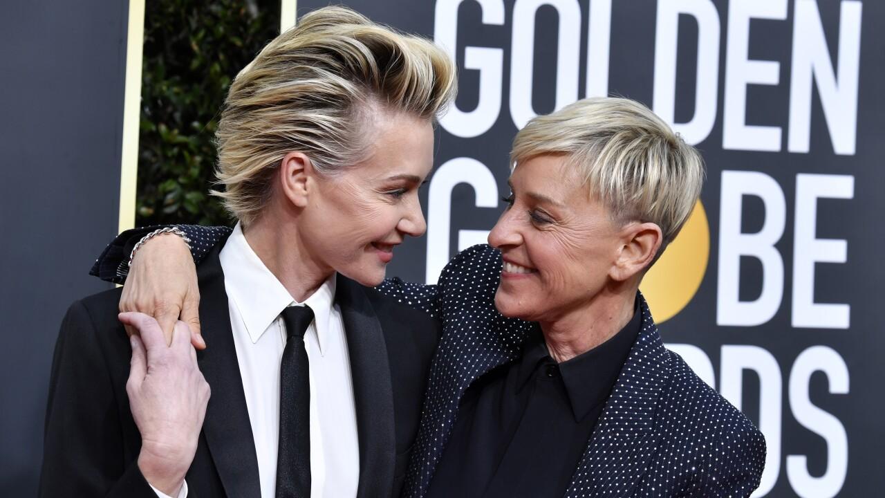 Portia de Rossi and Ellen Degeneres at the 77th Annual Golden Globe Awards