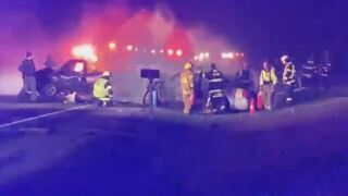 One person dead in fiery 3-vehicle crash in Grant County