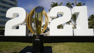 College Football Playoff National Championship trophy on display in Miami Beach in 2021