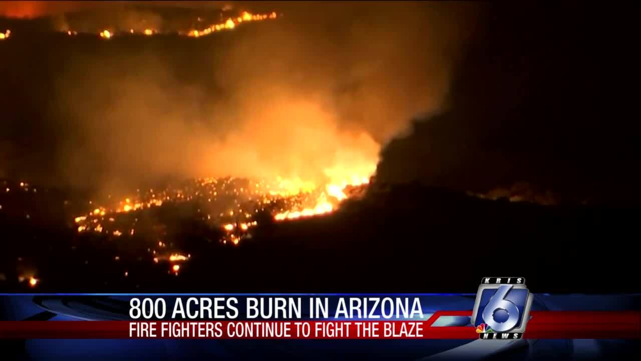 Large brush fire scorching Tonto National Forest northeast of Phoenix