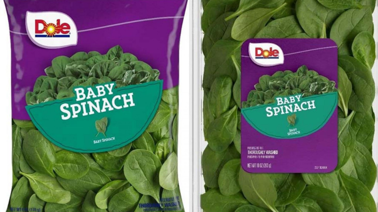 Dole recalls bags and containers of baby spinach for possible Salmonella contamination
