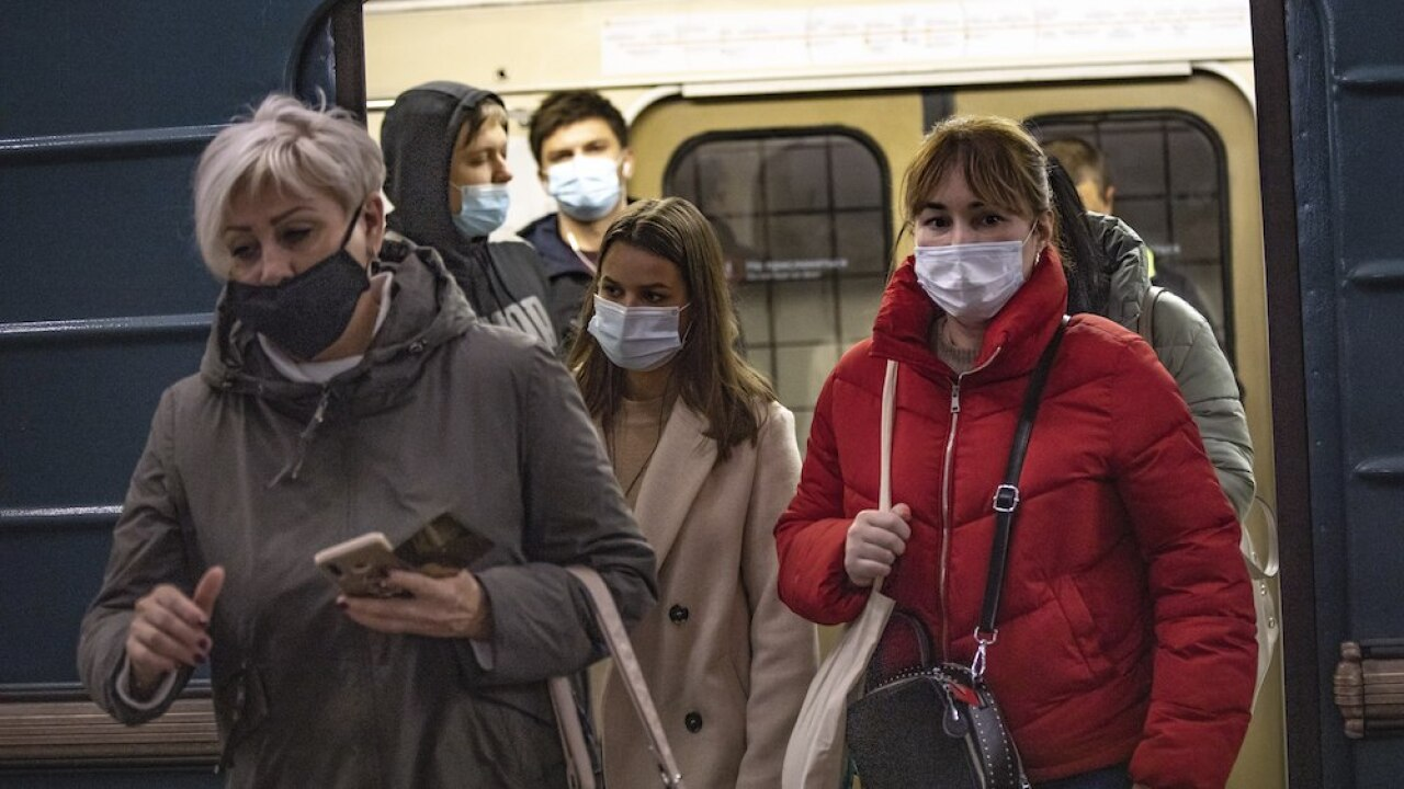 Virus Outbreak COVID-19 coronavirus subway mask