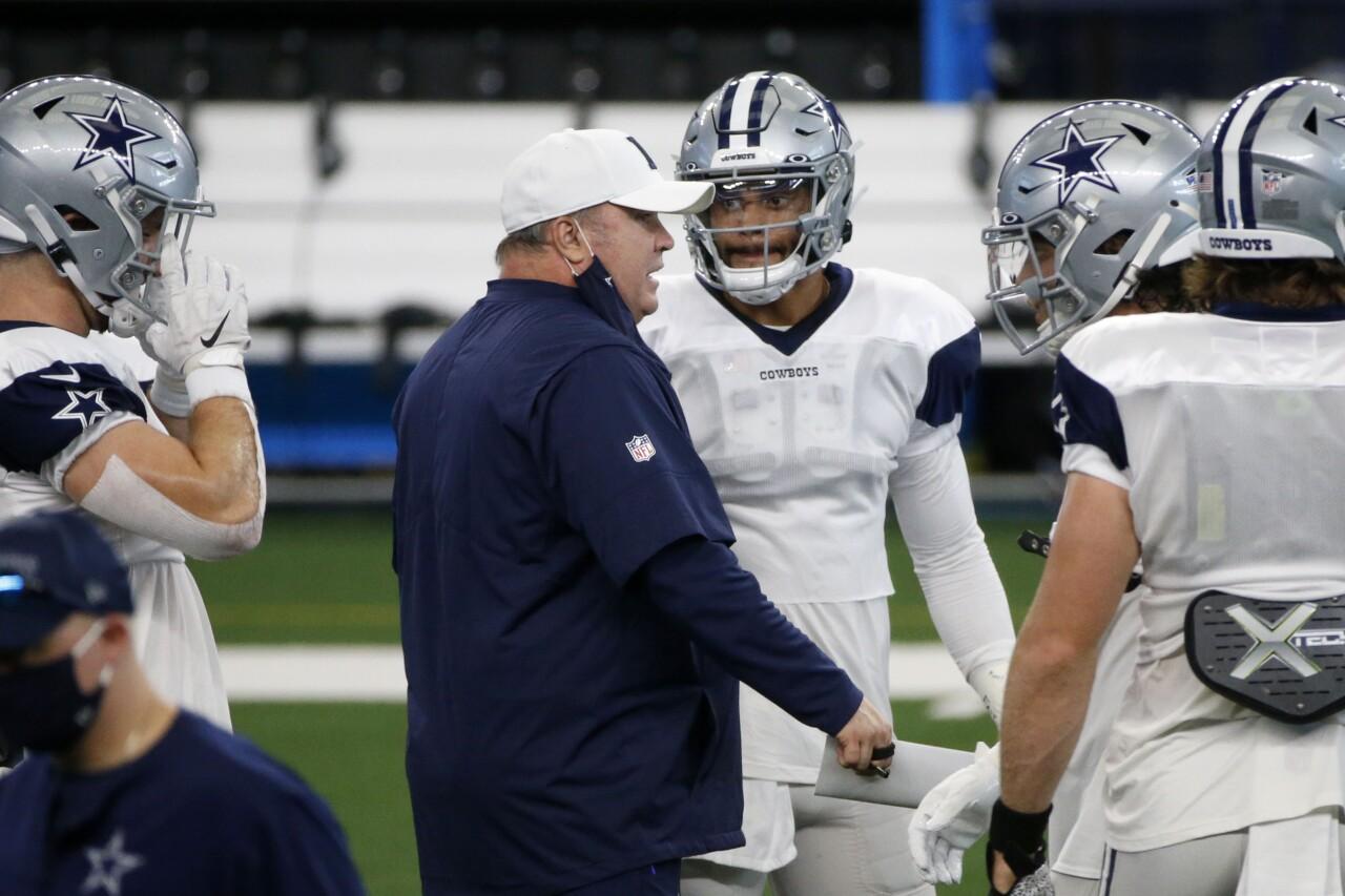 Dallas Cowboys head coach Mike McCarthy and QB Dak Prescott at training camp, August 2020
