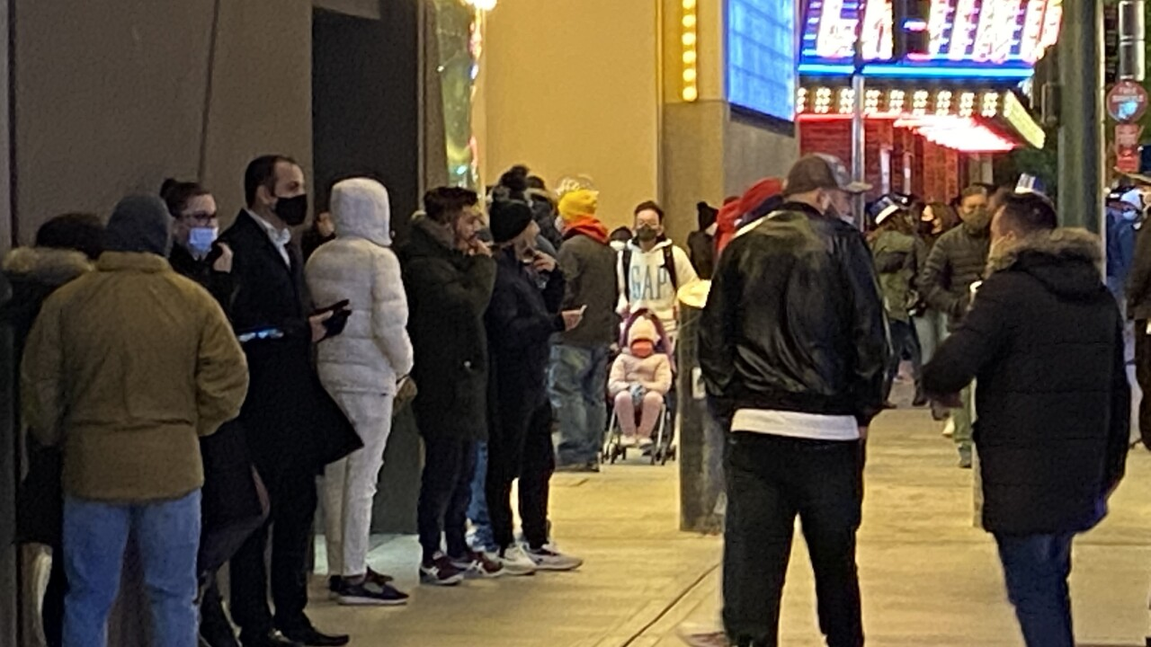 Photos of the New Year's Eve gathering in Downtown Las Vegas as seen in front of the Plaza Hotel and Casino in Dec. 31, 2020