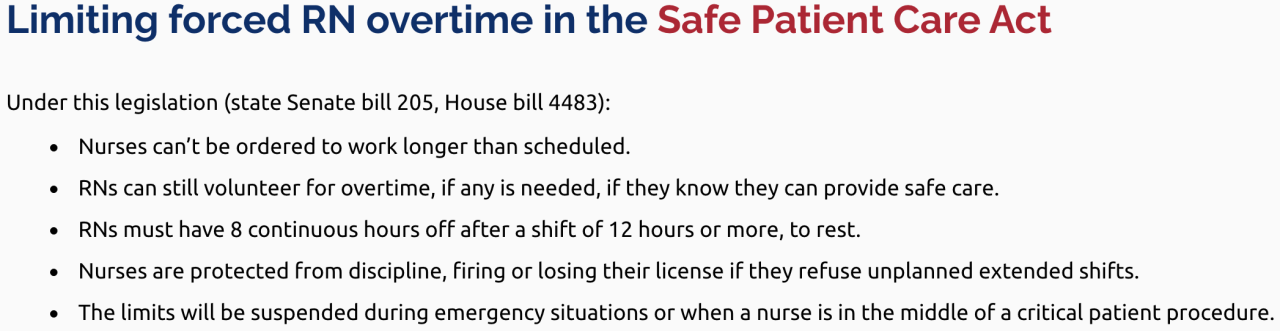 Under the Safe Patient Care Act