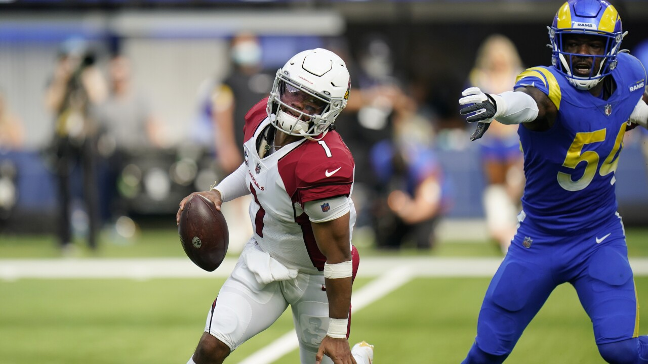 The Arizona Cardinals extended their longest unbeaten start since 2012 with a 37-20 victory over the Los Angeles Rams. AP photo.