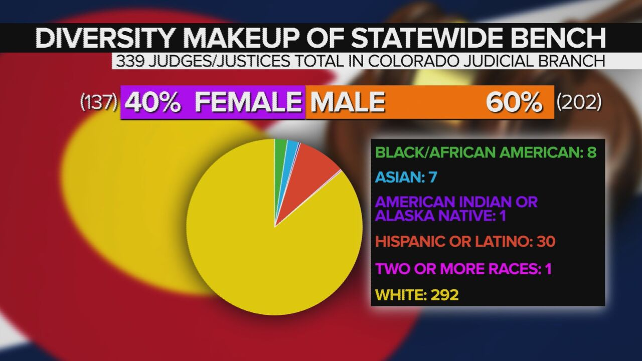 Diversity makeup of Colorado statewide bench