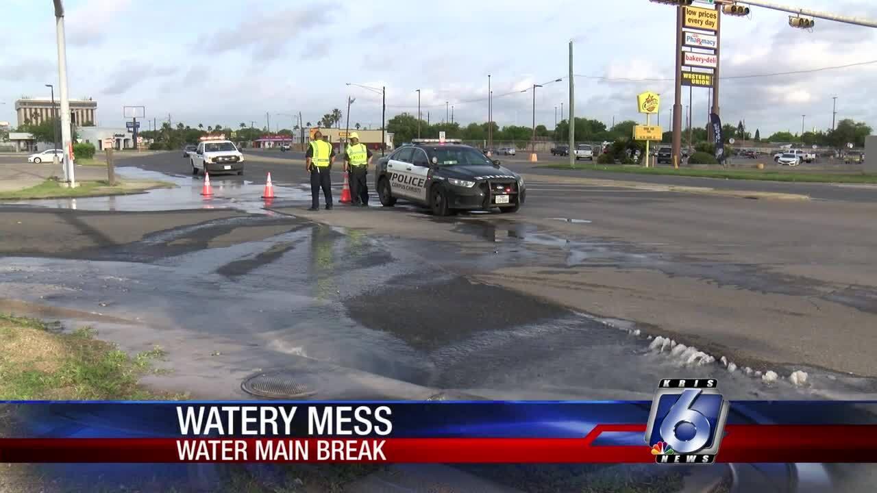 Water main break causes wet morning mess