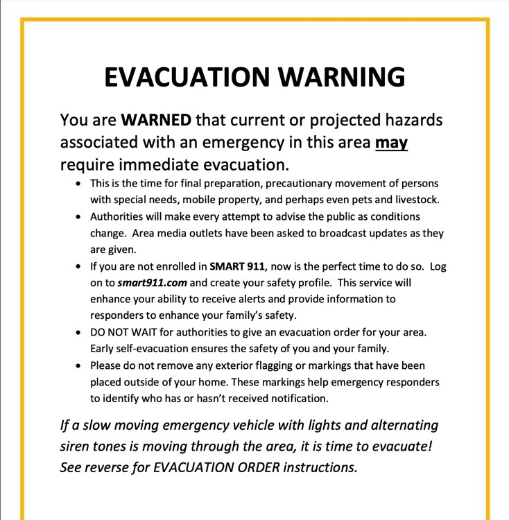 Missoula County Evacuation Warning