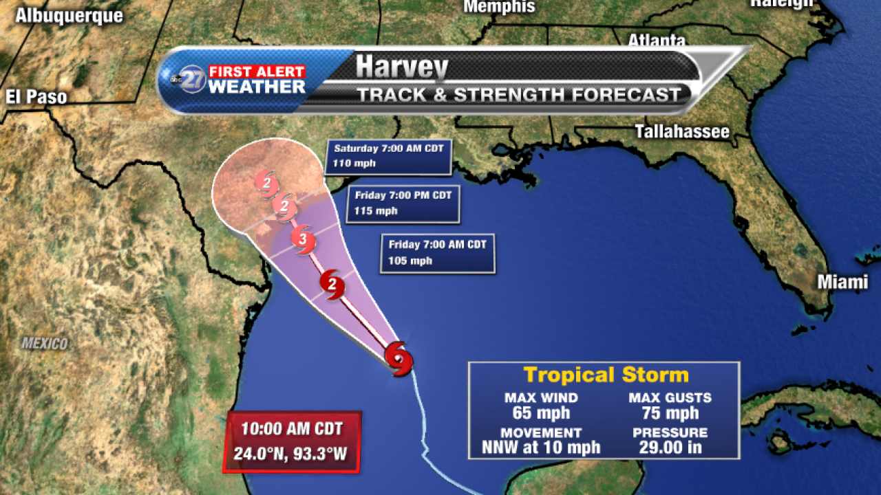 Tropical Storm Harvey 5am Forecast track A (08/24/2017)