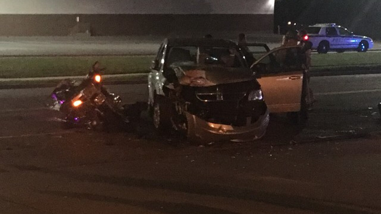 One hospitalized after SUV and motorcycle collision