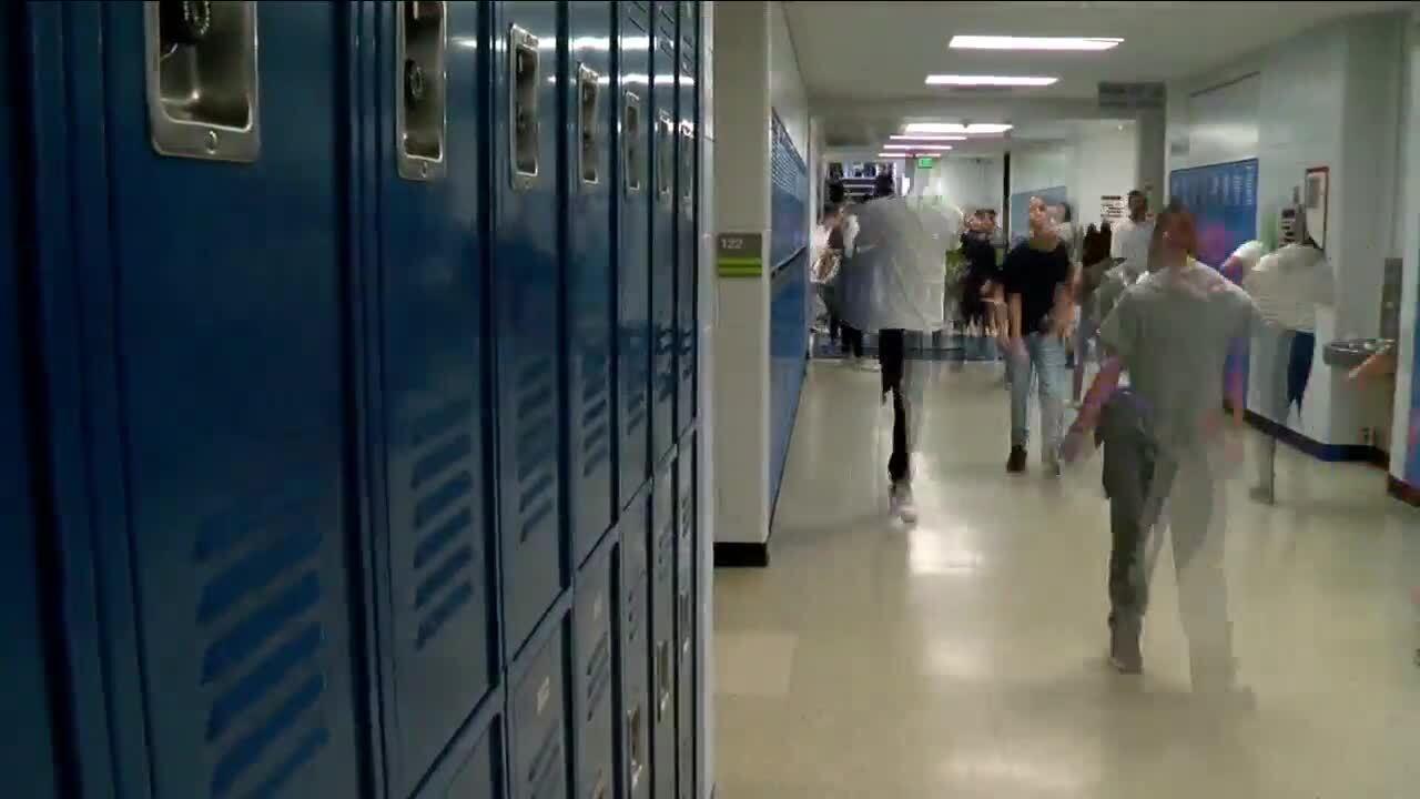 School, students walking