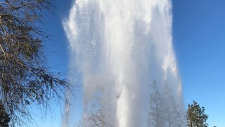 Broken fire hydrant in Poway
