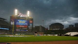 Comerica_Park_rain_delay_Toronto Blue Jays v Detroit Tigers