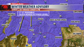 Snow on track for SW Montana on Sunday