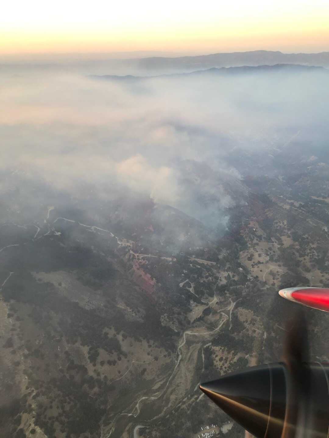 Lopez Lake fire. View from above Saturday evening from CAL FIRE