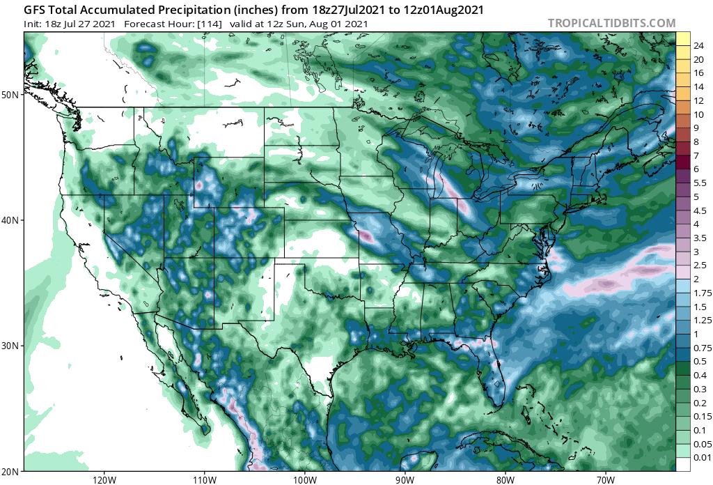 Rainfall Forecast Ending Sunday Morning