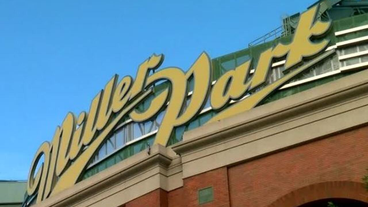 Umpire hit in head by ball from Miller Park stands