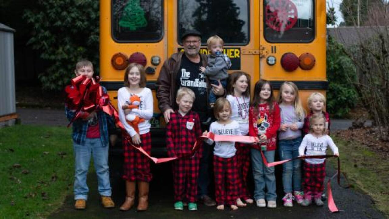 A man's gift to his 10 grandkids? A bus to take them all to school each morning