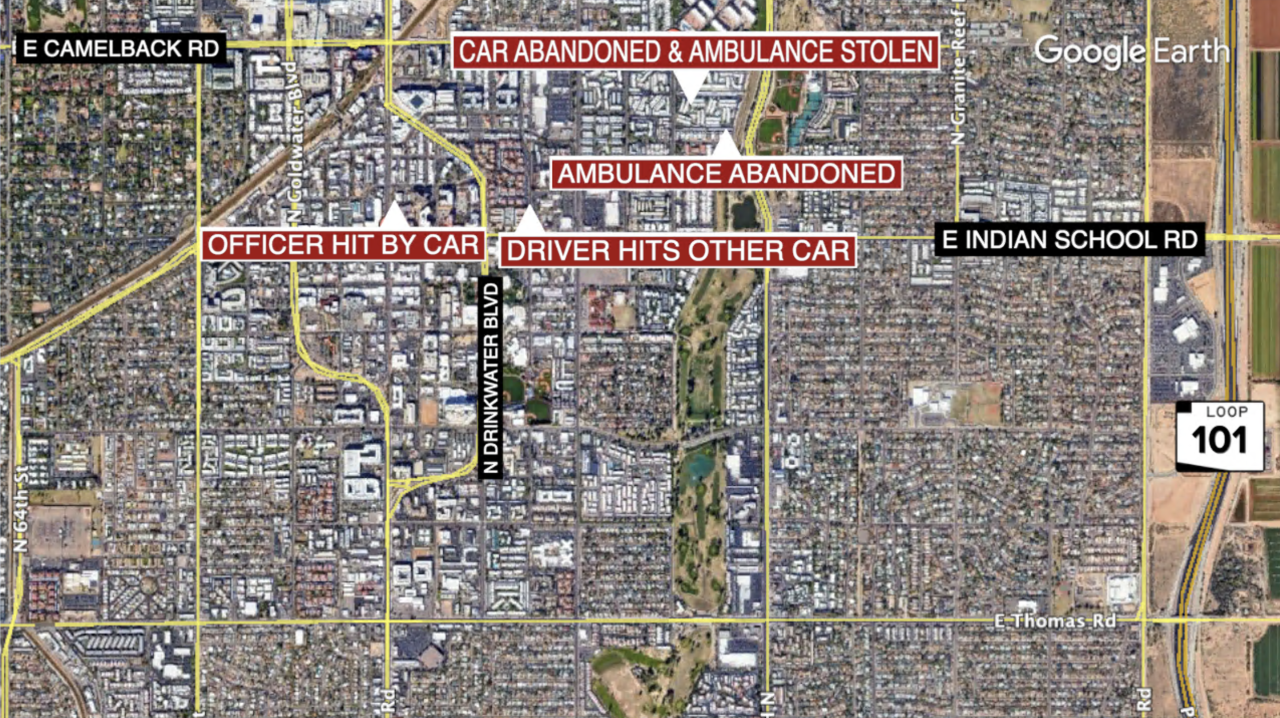 Stolen ambulance map