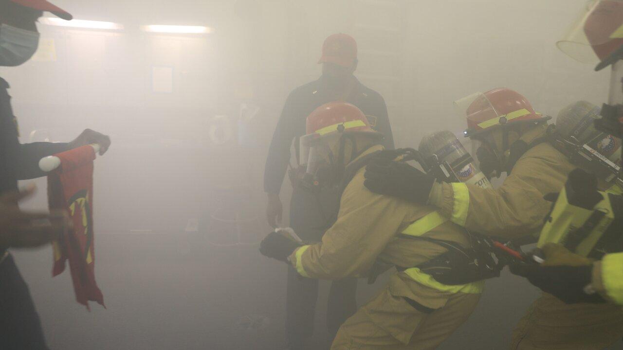 Dual Carrier Cross Deck firefighting drill