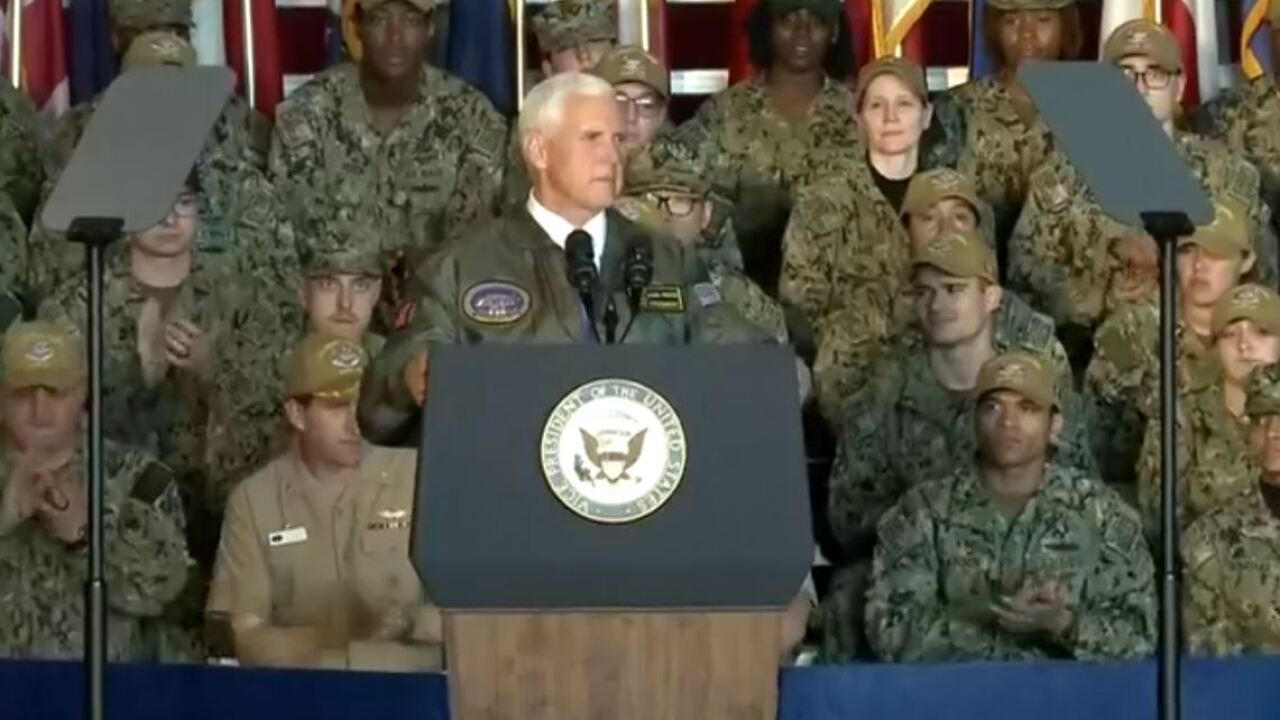 Sailors on USS Truman instructed to 'clap like we're at a strip club' for Pence arrival