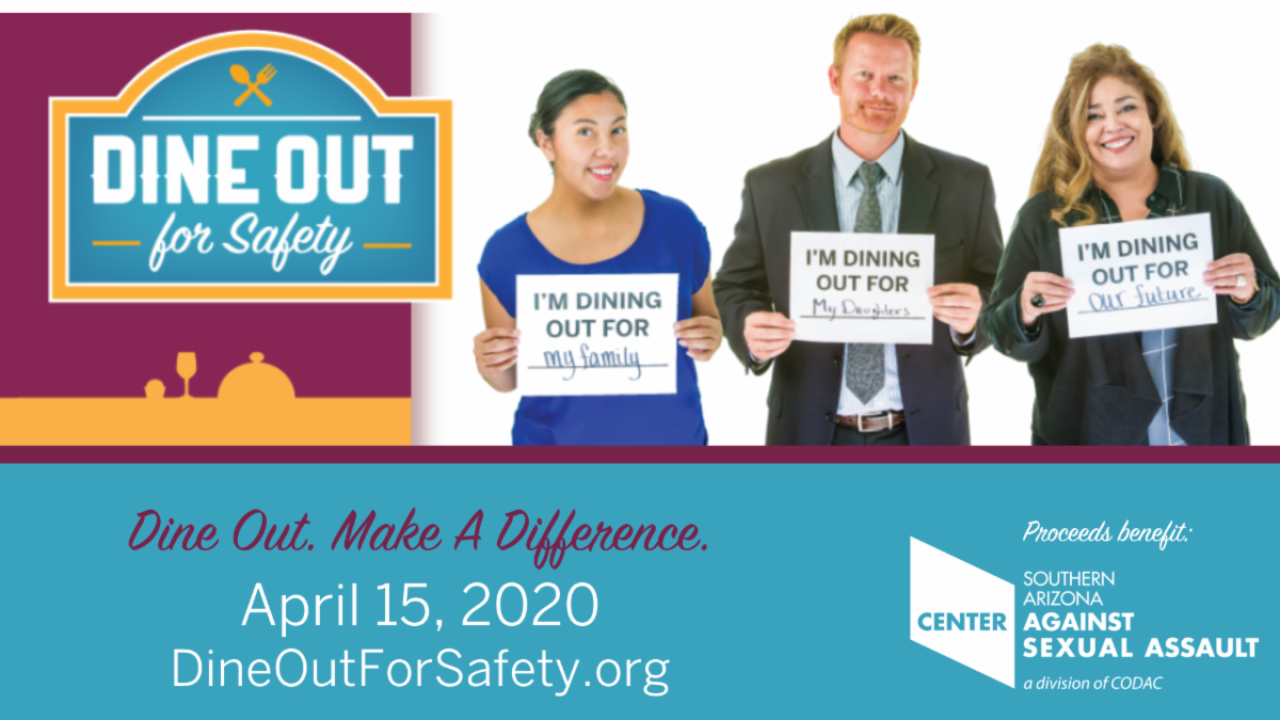 Support Survivors of Sexual Assault. Dine Out For Safety on April 15, 2020.