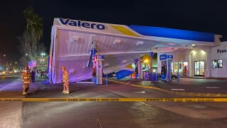 Valero canopy collapses following crash