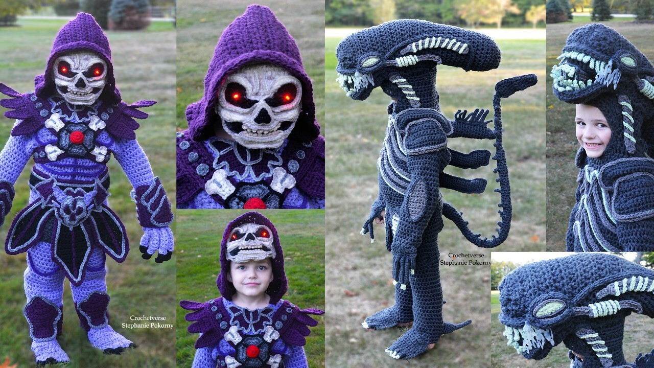 Mom crochets incredible head-to-toe costumes for her kids