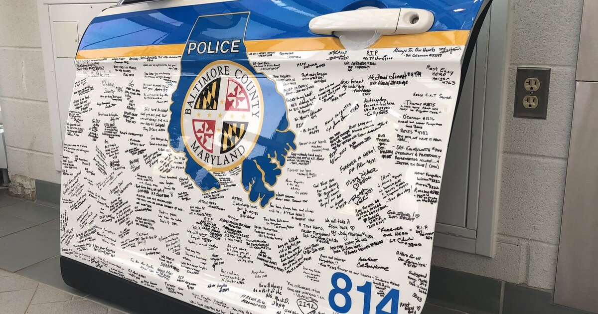 Baltimore Co. police honor Ofc. Amy Caprio with signed police cruiser door