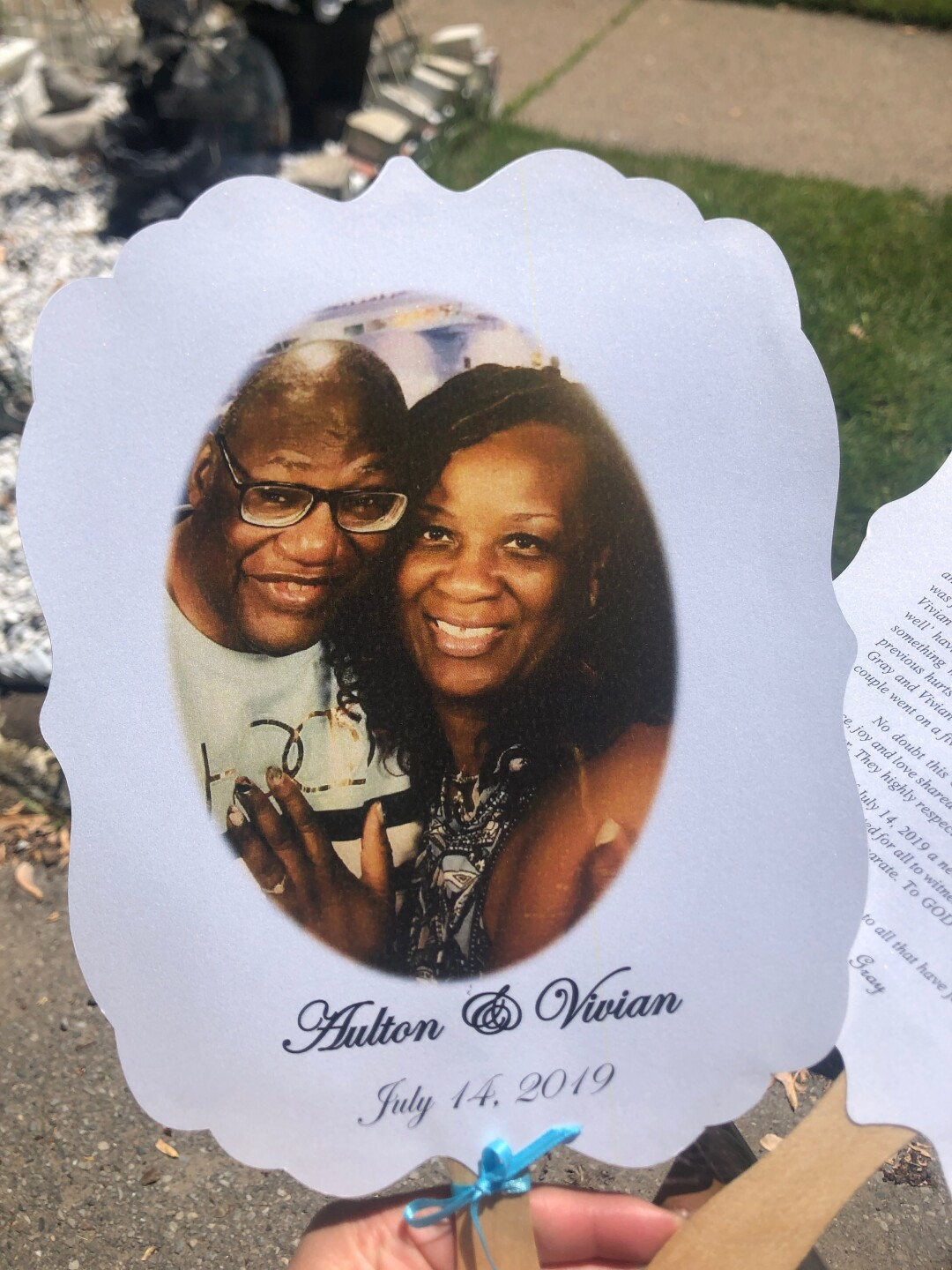 Vivian and Aulton Gray, who got married on July 14, 2019 and threw a wedding reception at their east side home in Detroit. They put mirrors on the blighted home next to them to disguise the deterioration.
