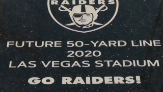 Plaque marks future 50-yard line at Las Vegas stadium