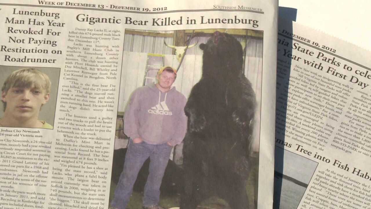 Hunter bags 674 pound, 9-foot tall bear that could set Va. record