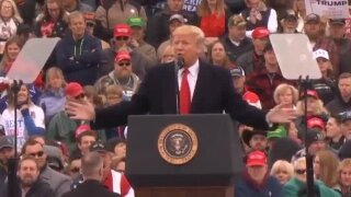 WATCH: President Trump rallies supporters at Bozeman airport