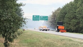 Photos: 20-acre brush fire closes lanes on Route 288 in Chesterfield
