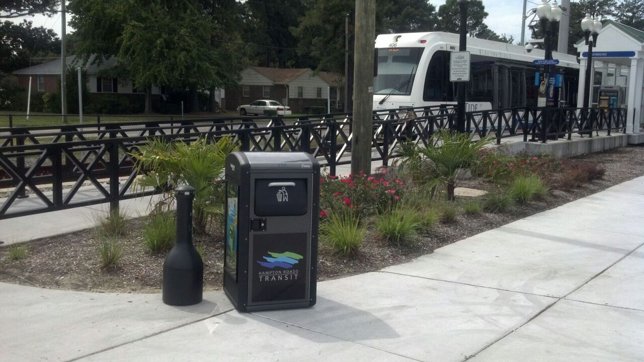 HRT installs solar-powered trash cans