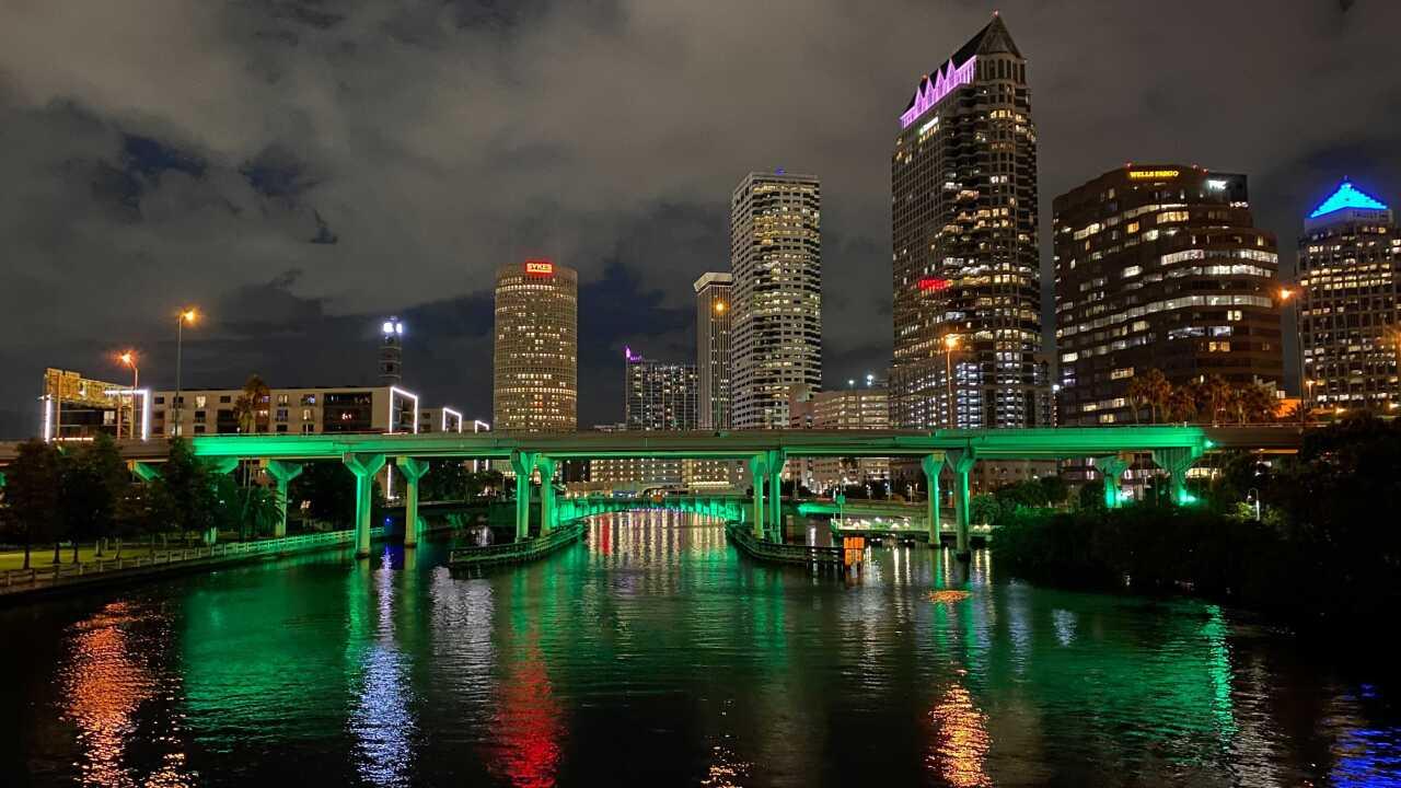 Bridge lit up