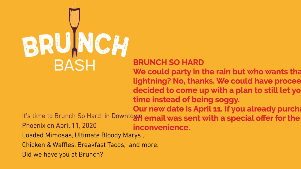 Brunch Bash Postponed 2020