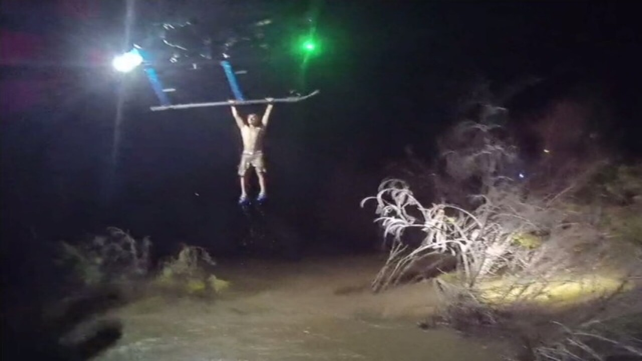 Mesa police helicopter rescues stranded man