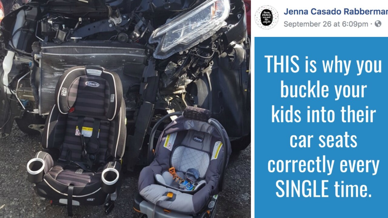 'This is why you buckle your kids into their car seats:' Mom's car crash photo goes viral