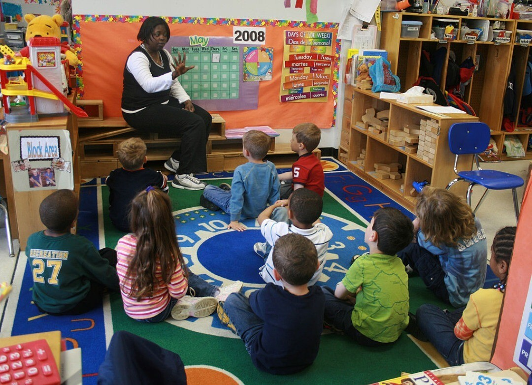 Children learning at Family Support Center