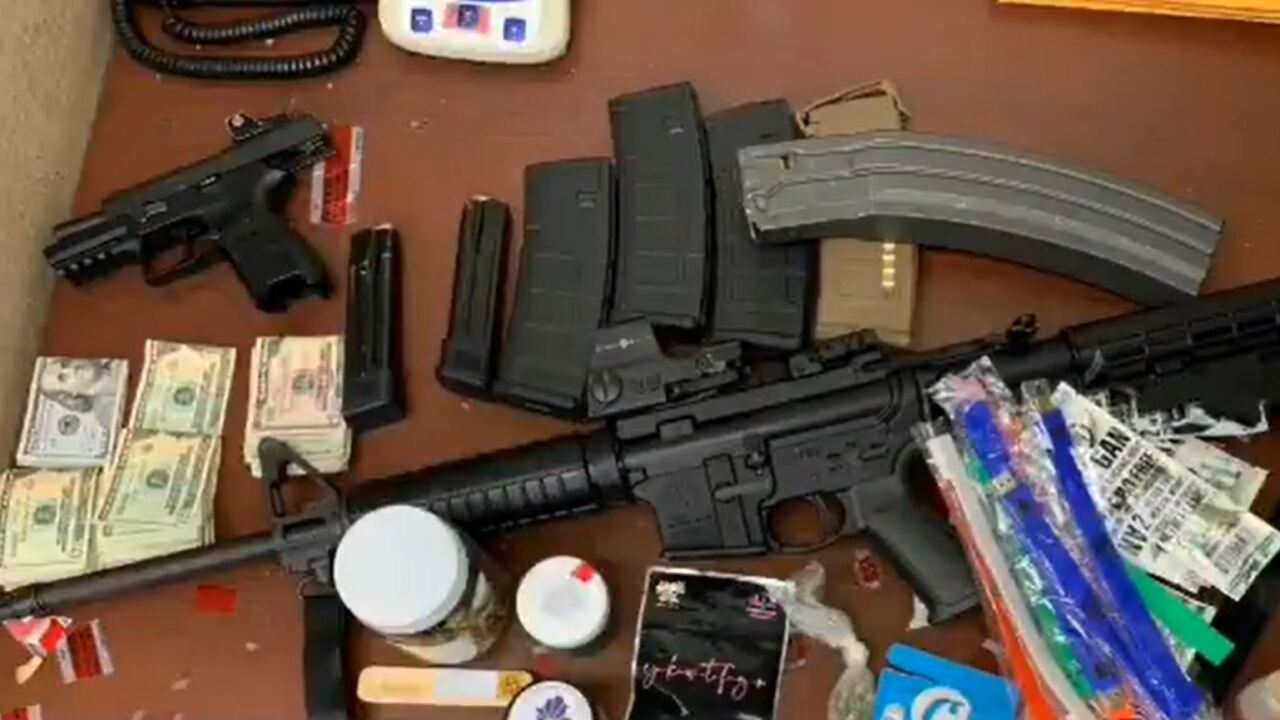 Cash and weapons seized during a recent encounter on the Las Vegas Strip with police.