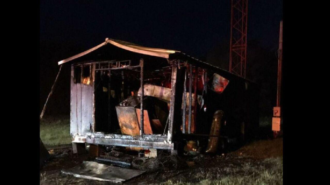 Suwannee County radio station tower facility burns