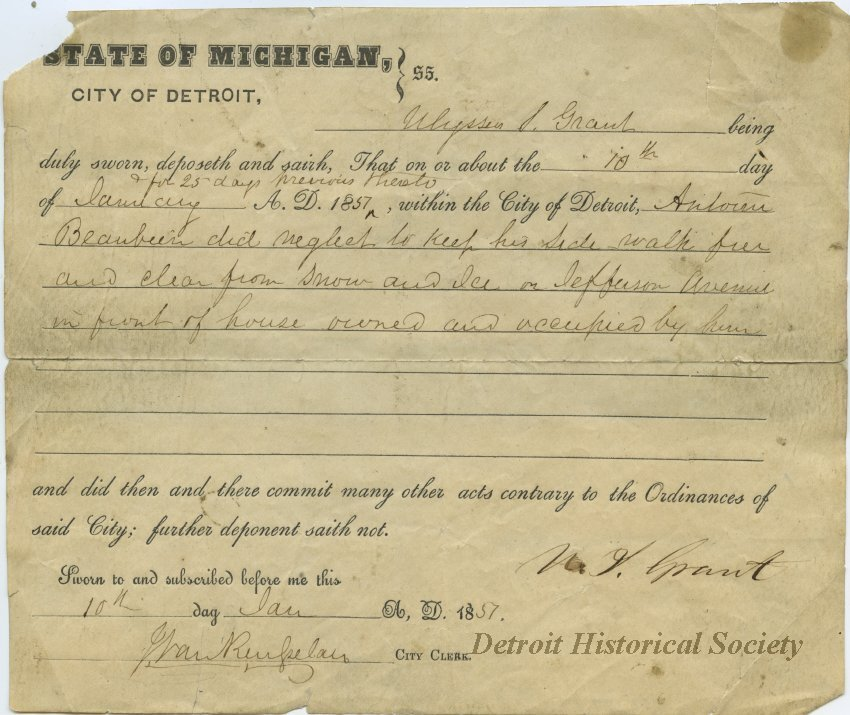 Ulysses S. Grant Detroit deposition
